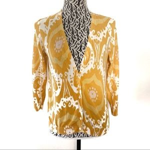 J. Crew Factory yellow cardigan batik print large